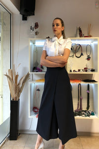 Kathy Black Stylish Sexy 3/4 Length Palazzo Pants / Elegant Palazzo Pants / Wide leg Stylish Trousers / Business /Office Palazzo Pants