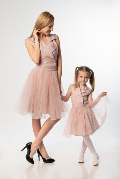 Lisa Boutique Matching Mom and Daughter Dresses for Birthday/Wedding Sleeveless Elegant Midi Dress With Removable Tutu Skirt