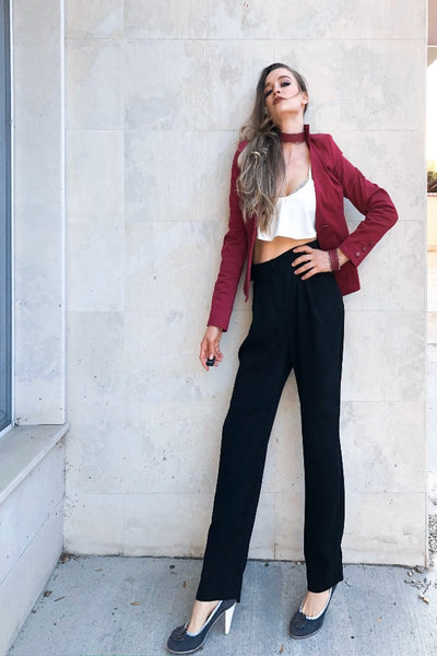 Zoey Stylish Black Pants with Low Bottom and Side Pockets, Business Pants / Stylish Modern Pants, Casual Pants , Natural Waist Regular Fit Pants