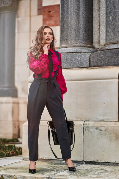 Dizalex Brittany Women Work Trousers with Suspenders with Side Pockets in Grey/ Plus and Small Sizes Available