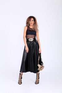 Gabriella Modern Pleated Skirt of Eco Leather