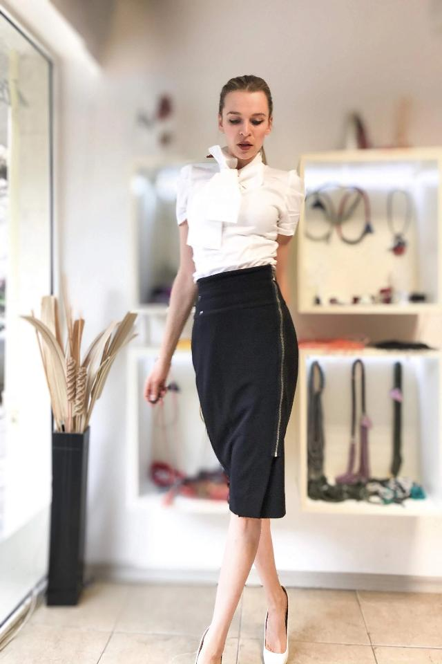 Elena Bodycon Business Skirt with Assymetric Zipper