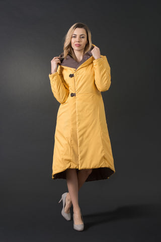 Two-faced modern sporty elegant winter coat