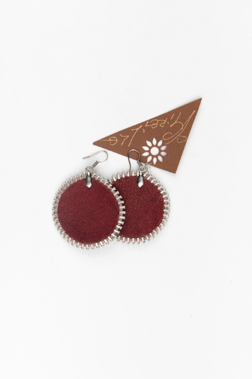 Adriana Zipper Leather Earrings