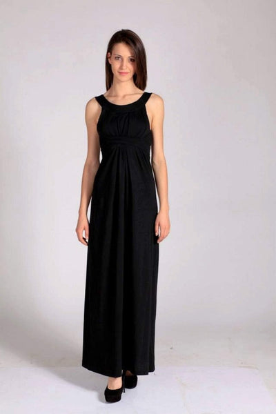 Luna Black Woman Maxi Dress, plus sizes / large sizes, long elegant dress, backless / low back, high waist, Spring / Summer sexy cotton dress