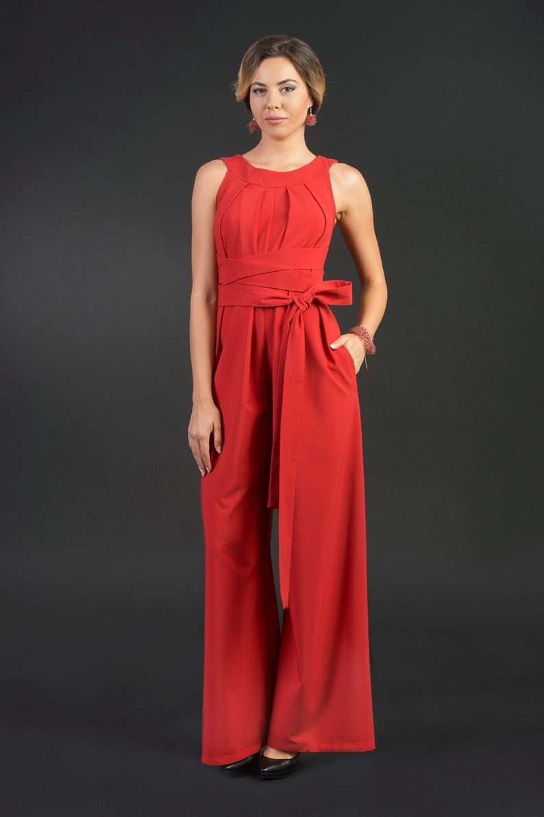 Wendy Wide Leg Woman Jumpsuit / Romper, Modern Overall, Plus sizes, Elegant woman jumpsuit, Wide leg trousers, Palazzo pants with a Sash