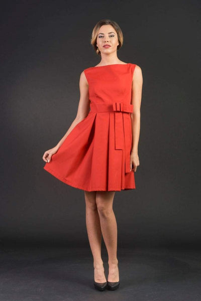 Scarlett Orange Elegant Office Woman dress, Knee length flared dress, Sexy/ stylish, elegant/ formal, cocktail / party dress, plus sizes, cotton