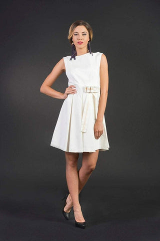 Scarlett White Elegant Business Woman dress, Knee length flared dress, Sexy/ stylish, elegant/ formal, cocktail / party dress, plus sizes, cotton