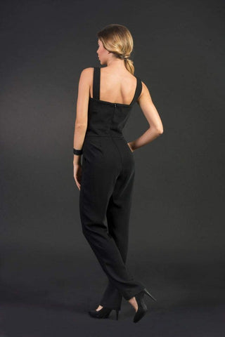 Elegant black woman jumpsuit, sexy jumpsuit/ overall, modern cocktail jumpsuit, large sizes/ plus sizes, black romper, black overall