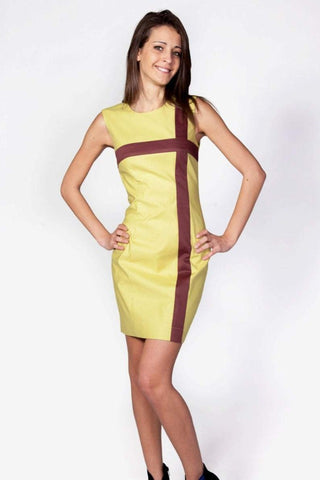 Elegant short pencil woman dress, plus sizes dress, business office dress, work outfit, yellow geometric dress, elegant work dress