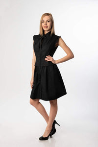 Evelyn Black Midi Summer Business Casual Dress/ Plus sizes dress available / Work dress / Collared dress Bridesmaid dress Elegant dress Cotton dress