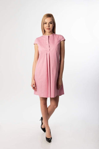 Chloe Pink Elegant Mini Summer Dress, casual woman dress, Special occasion dress / plus sizes dress, everyday dress, collared dress, elegant dress, cotton dress, loose dress