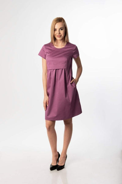 Grace Elegant Purple Midi Woman Dress / Purple Bridesmaid Dress/ Woman Casual Dress/ Office /Work Dress / Cotton satin dress plus size dress flared dress loose dress