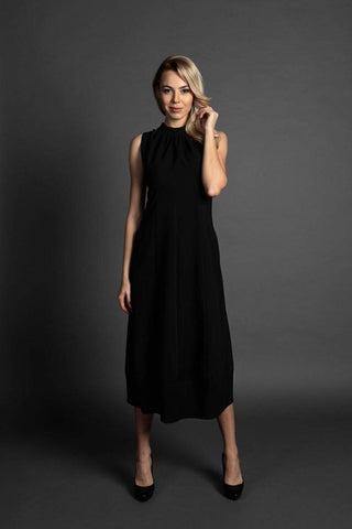 Harper Midi Black Dress, Elegant Feminine Dress, Plus sizes dress available, Summer midi dress, Elegant flared dress, Sleeveless dress, Backless dress