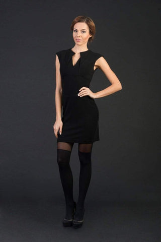 Riley Black Bodycon Mini Dress with Stylish Rhombus-Cut Neckline/ Mini length / Party dress