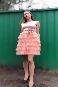 Daisy Doll Style Dress above Knee Length High Waist In Tulle and Satin with a Sash
