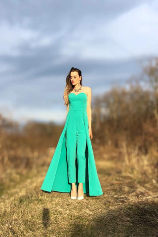 Honey Turquoise Elegant Jumpsuit with Train / Jumpsuit - dress / Formal