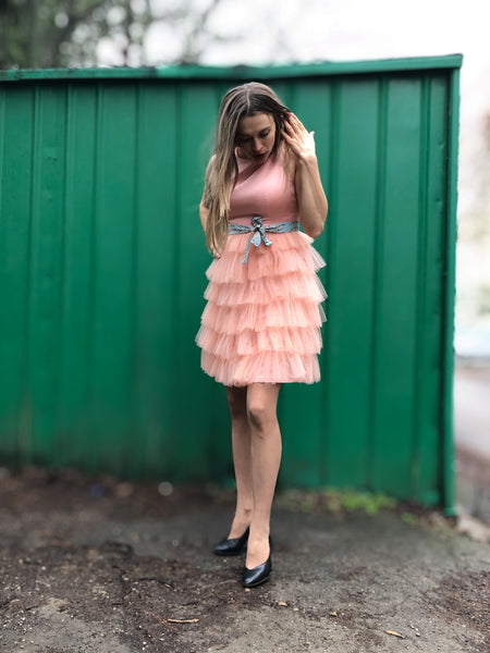 Marisa Matching Formal Birthday / Wedding Mommy Daughter Tulle Dresses in Peach or Customized Colours with a Cute Satin Sash