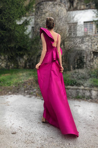 Cyclamen Taffeta Long Assymetric One-Shoulder Prom Dress with Jabot Collar and Train