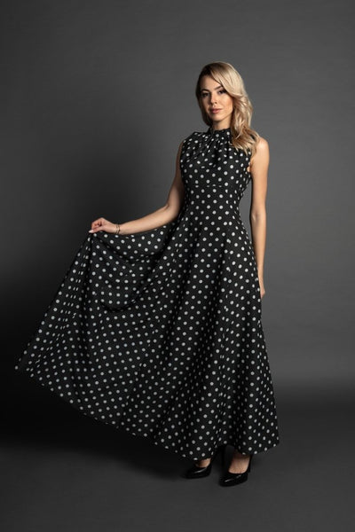 Lora Maxi Dotted Empire Summer Woman Silk Dress / Small and plus sizes available / Special occasion dress / Casual dress / Summer dress