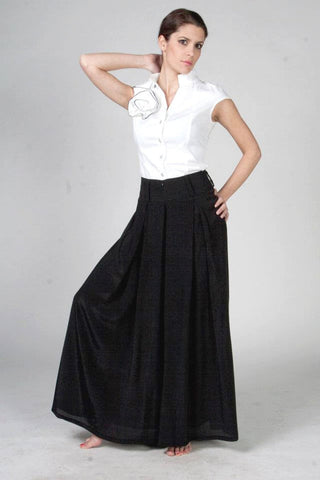 Riri Loose Black Palazzo Pants, High Waist Pleated Wide Leg Trousers, Plus Large Sizes, Japanese style