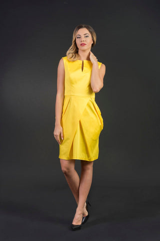 Penelope Short Yellow Dress, Elegant summer dress, plus sizes/ large sizes, Cocktail/ party dress, bridesmaid dress, handmade