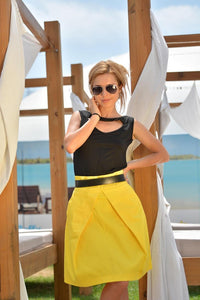 Ava Yellow High Waist Woman Skirt, Mini summer pleated skirt, Plus / large sizes available, elegant knee-length cotton skirt