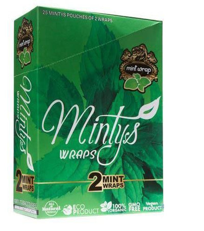 Find Minty Mints Herbal Wraps - Pack of 2 - Display of 25 Pack by Minty Mints at www.haveapuff.com