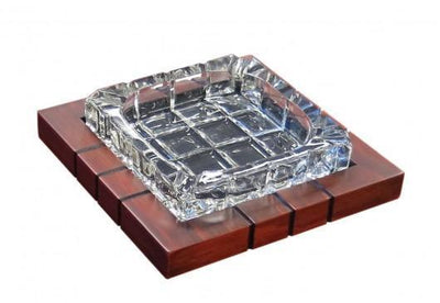 Wood & Crystal Cross-Hatch Ashtray - HaveAPuff