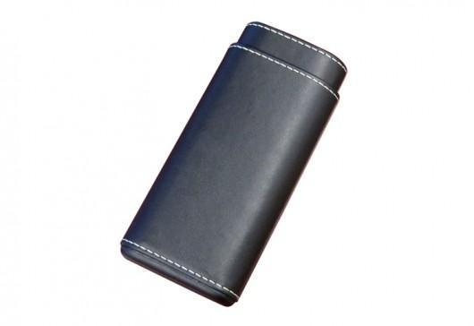 Black Leather 3 Cigar Case - HaveAPuff