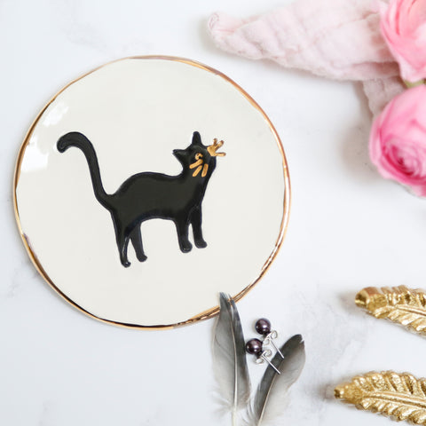 Black cat Jewellery Dish