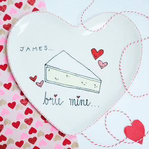 'Brie Mine' Personalised Heart Shaped Plate