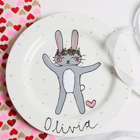 Personalised Cute Grey Bunny with Floral Crown Name Plate