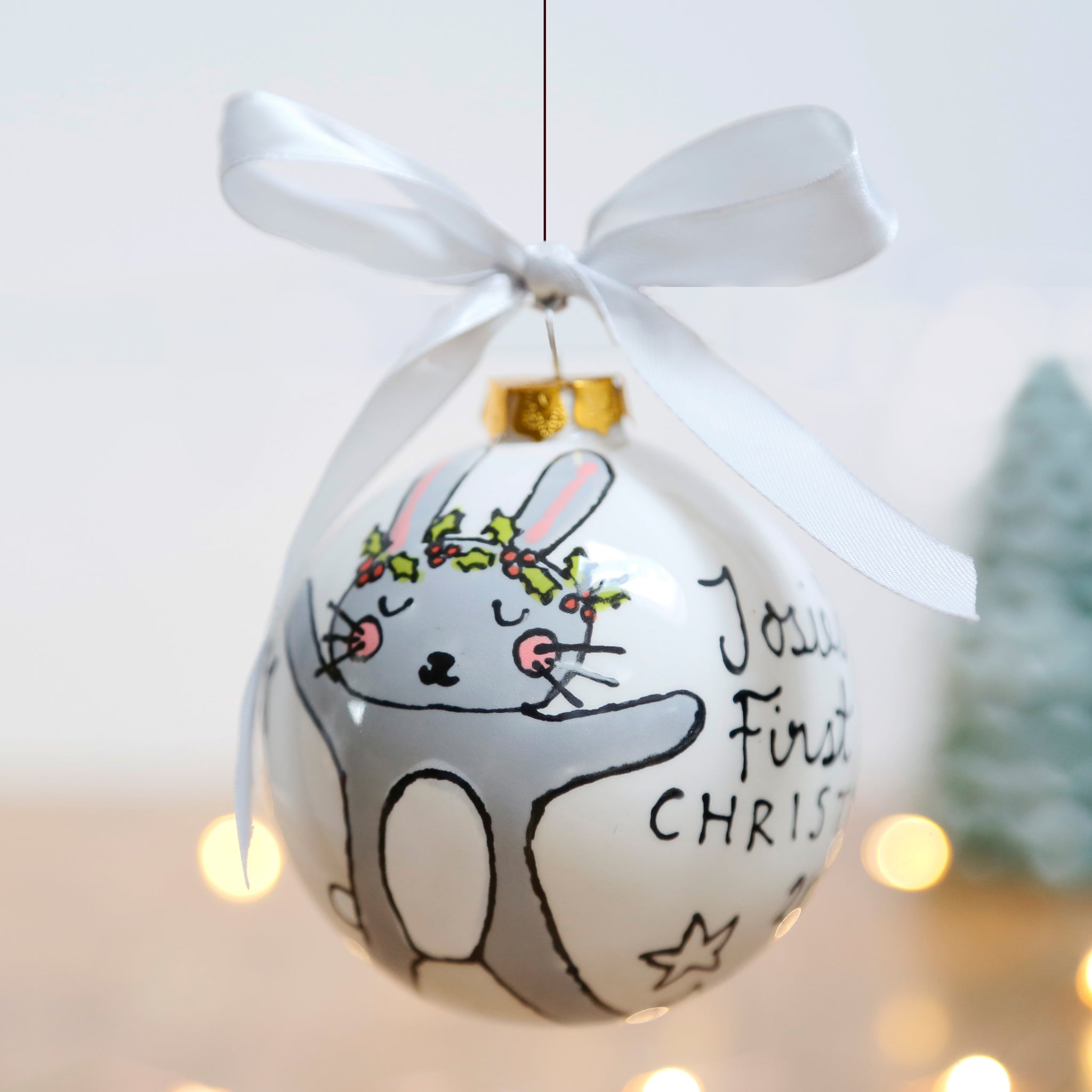 First Christmas Personalised Ceramic Bauble with Cute Bunny Design