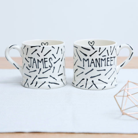 Modern Monochrome Personalised Mr and Mrs mugs