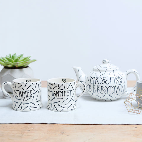 Modern, Monochrome Mr and Mrs Teapot and Mugs Set