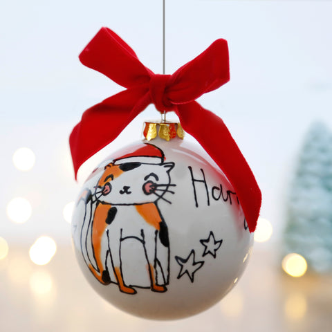 First Christmas Personalised Ceramic Bauble with Cute Cat Design