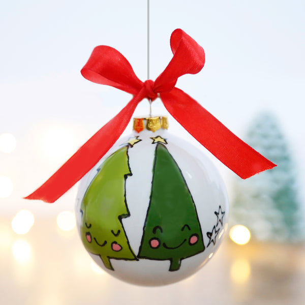 Smiley and Friendly Christmas Tree Ceramic Bauble
