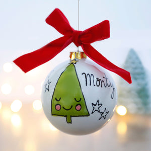 First Christmas Personalised Ceramic Bauble with Cute Smiley Christmas Tree