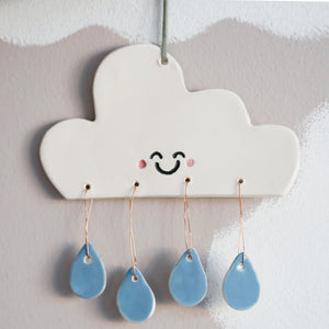 Cute Cloud with Raindrops hanging decoration