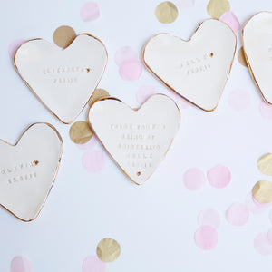 Heart shaped Bridesmaid Favour Jewellery Dishes with 22c Gold lustre Edges