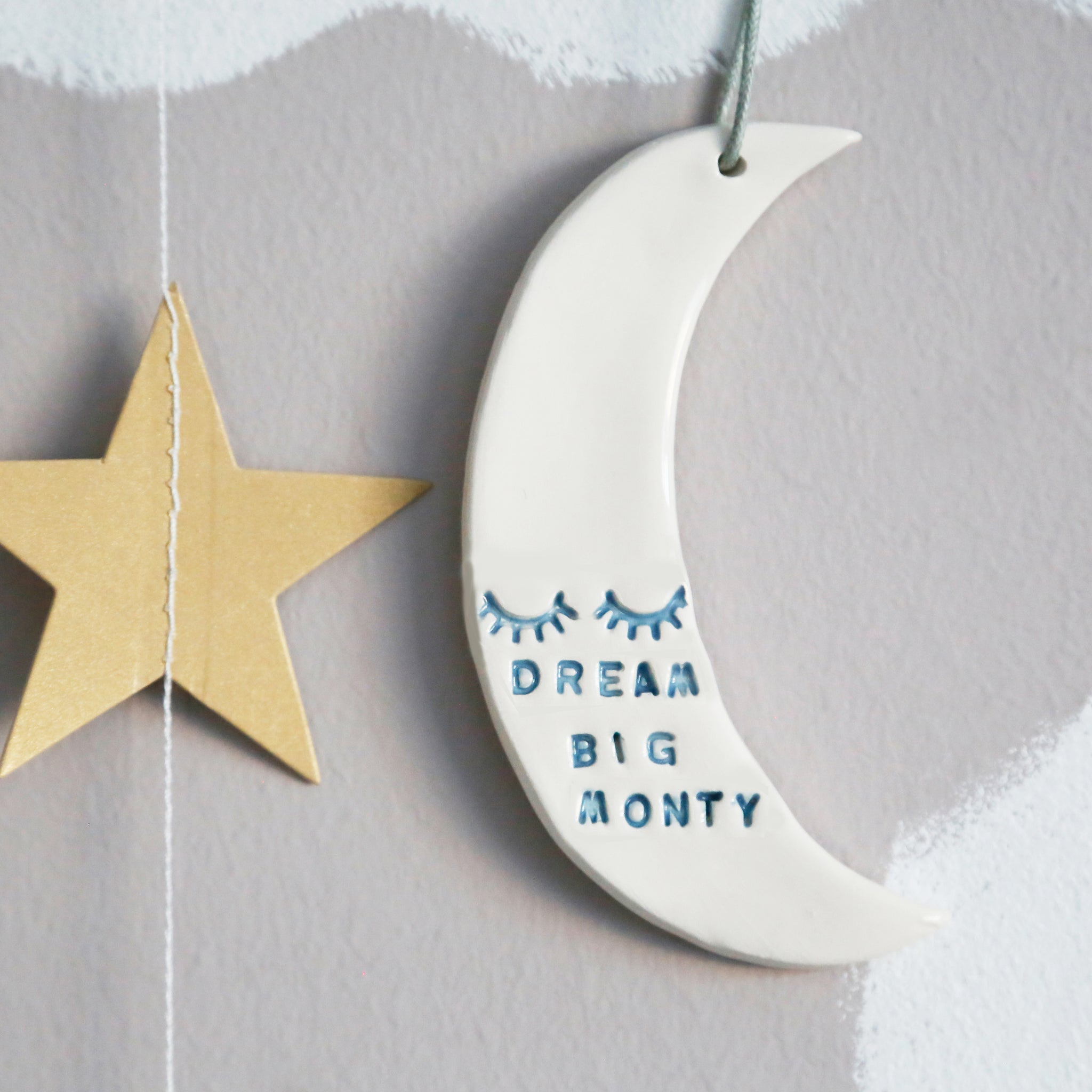 Personalised Dream Big Moon hanging decoration