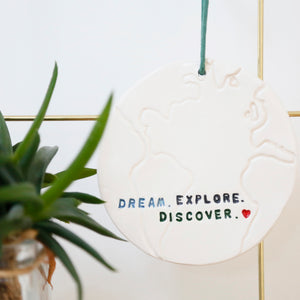 Dream, Explore, Discover Globe hanging decoration