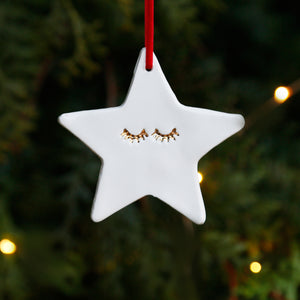 Stylish Simple Star Hanging Ornament with 22c Gold Lustre Eyelashes