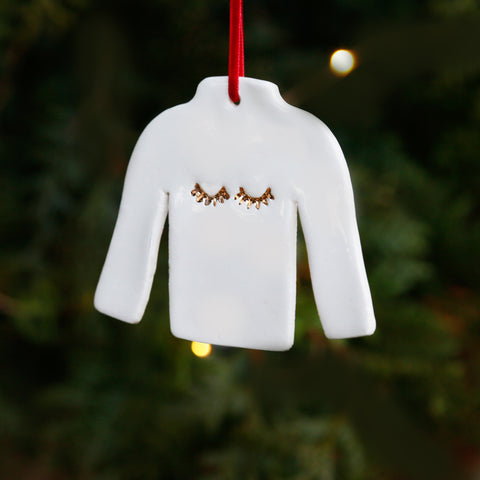 Stylish Christmas Jumper Ornament with 22c Gold Lustre Eyelashes