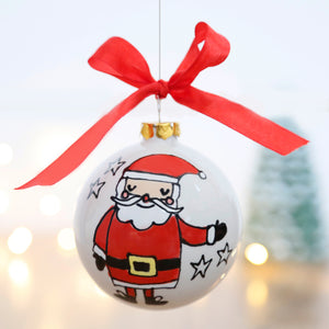 Cute Father Christmas/Santa Claus Ceramic Bauble