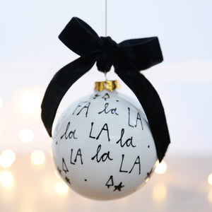 Modern and Stylish Ceramic Bauble featuring the Christmas Lyrics Fa la la la la la la la la