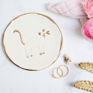 White Cat Jewellery Dish