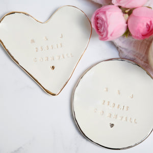 Personalised trinket dish with names, a date and special location