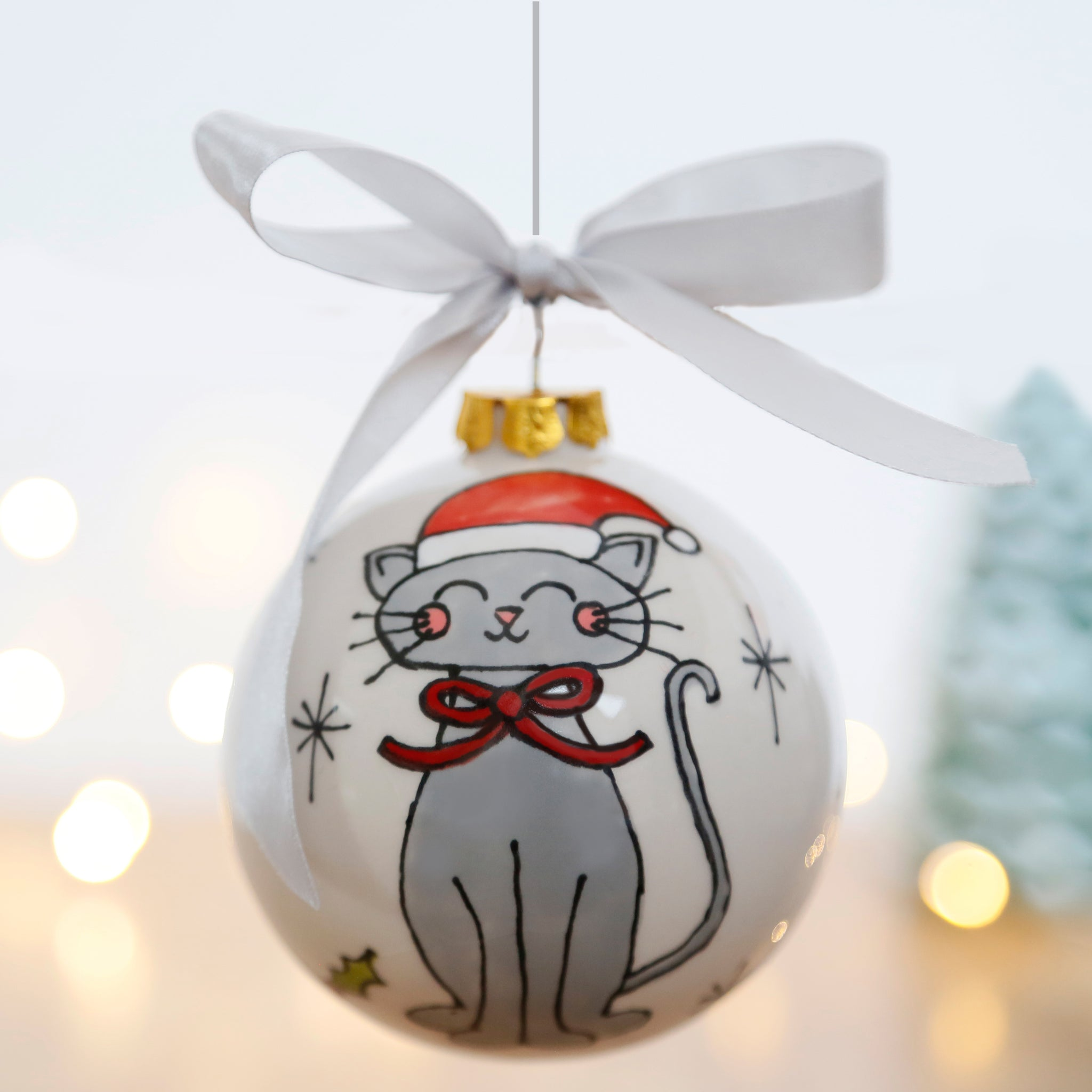 First Christmas Personalised Ceramic Bauble with Grey Cat with Santa Hat